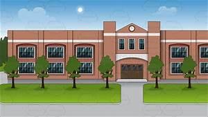 The Exterior Of A Public School Background Cartoon Clipart ...