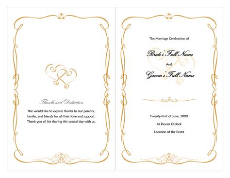 wedding program heart scroll design microsoft office