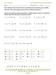 graphing quadratic equations worksheet lf 18 converting from point slope to slope intercept form mathops