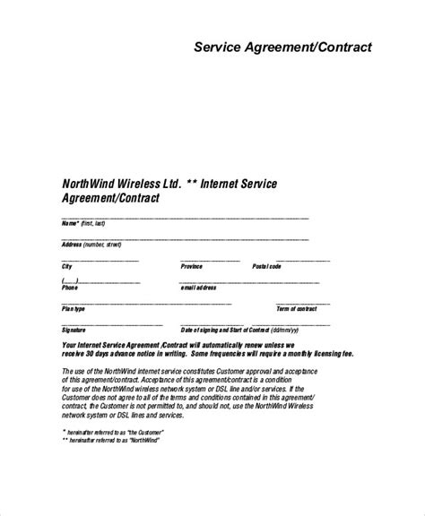 sample service agreement contracts  ms word