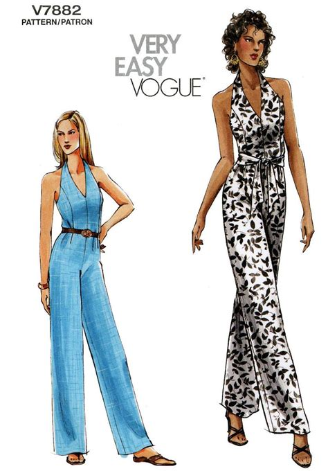 jumpsuit sewing pattern vogue 7882 misses halter top jumpsuit sash easy sewing
