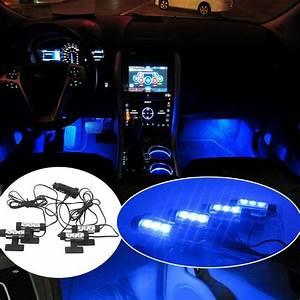 4x 3led Car Charge Interior Accessories Floor Decorative