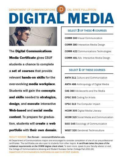 digital media certificate department of communications pre professional certificates