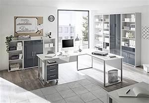 Büro Set Möbel : komplettes arbeitszimmer b ro m bel set komplettset office lux in lichtgrau glas graphit lack 9 ~ Indierocktalk.com Haus und Dekorationen
