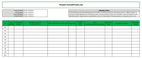 raid log template excel project management