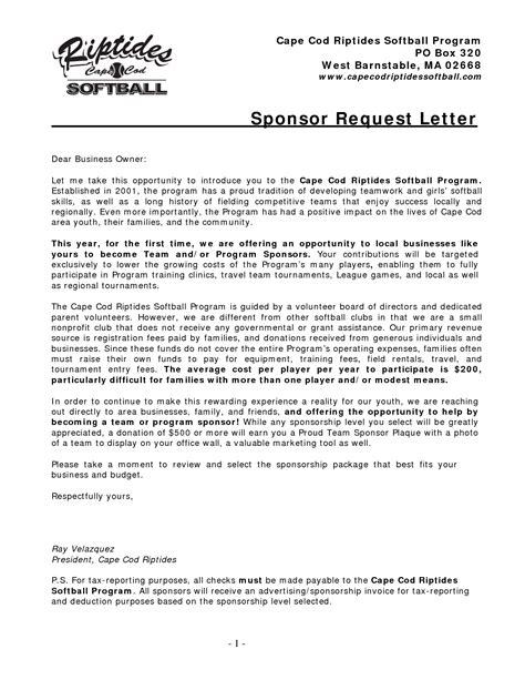 sample corporate sponsorship letter corporate sponsorship