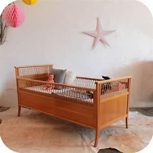 Lit Bébé Vintage : c593 lit bebe vintage bois rotin ba atelier du petit parc ~ Dode.kayakingforconservation.com Idées de Décoration
