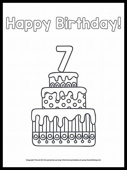 Coloring Birthday Happy Printable 7th Cake Sheet