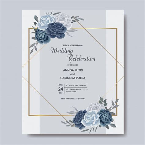 Elegant wedding invitation card template with floral and