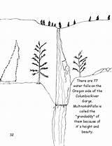 River Columbia Coloring Gorge Oregon Designlooter Visit Waterfalls Side 08kb 1034px Grandaddy Multnomah Falls Called sketch template