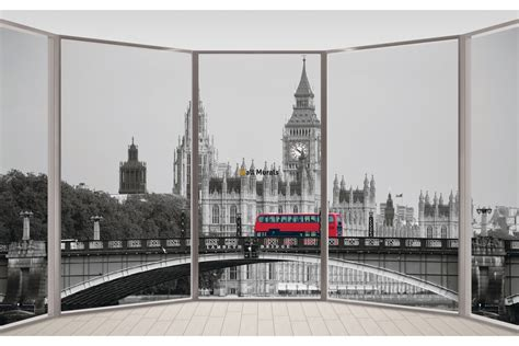 wallpapers mural window view  london bridge   red bus