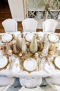 Elegant, Gold, Christmas, Table, Scape