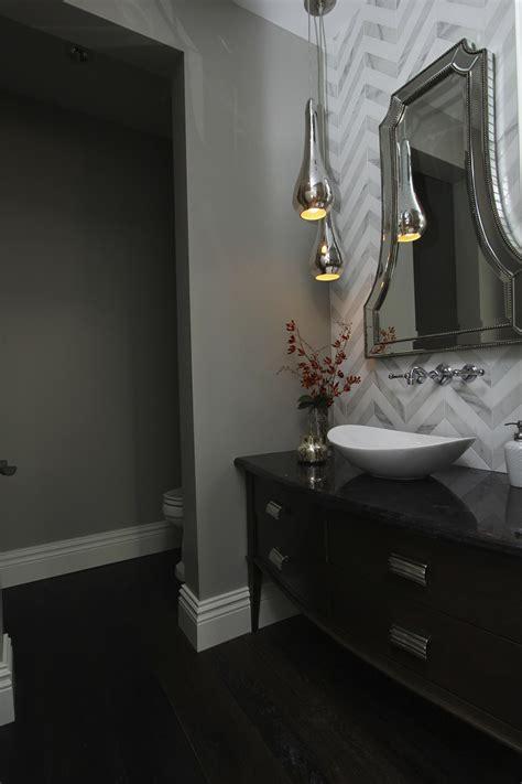 hamptons inspired luxury powder room
