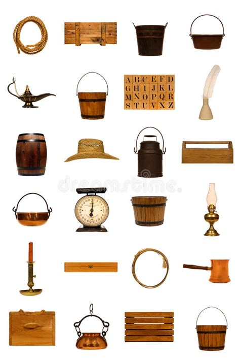 antique americana  objects collection isolated stock