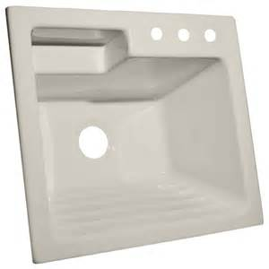 shop corstone bone acrylic self rimming laundry sink at