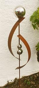 Deko Skulpturen Modern : gartendeko rost skulptur 120 cm mit edelstahlkugel garten deko edelrost pinterest deko ~ Indierocktalk.com Haus und Dekorationen