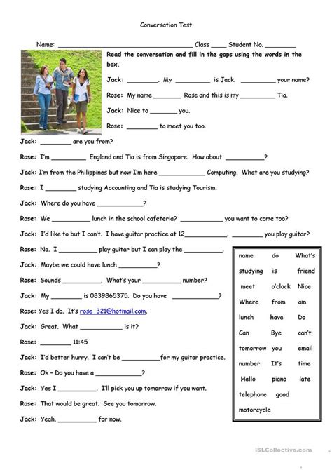 conversation test worksheet  esl printable
