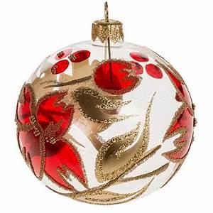 Boule Noel Transparente : boule de noel transparente fleur rouge or 8 cm vente en ligne sur holyart ~ Melissatoandfro.com Idées de Décoration