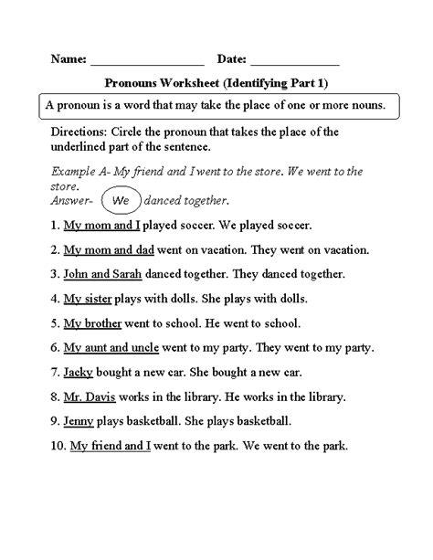 identifying pronouns worksheet pronoun worksheets nouns