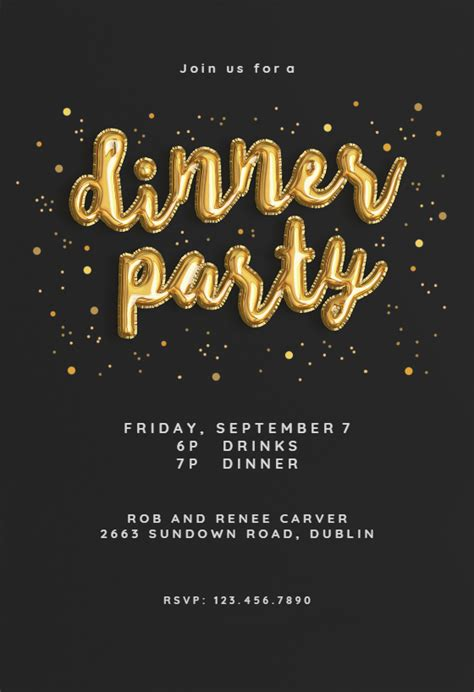 balloons   dinner party invitation template