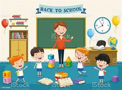 Cartoon Students Illustration Vector Classroom Preschool Clip