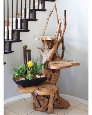 amazing deal on 3 tiered driftwood plant stand with 3 teak shelving garden age 47255