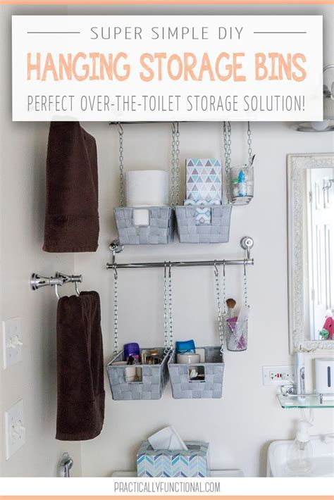 DIY Hanging Storage Bins For Over The Toilet Storage