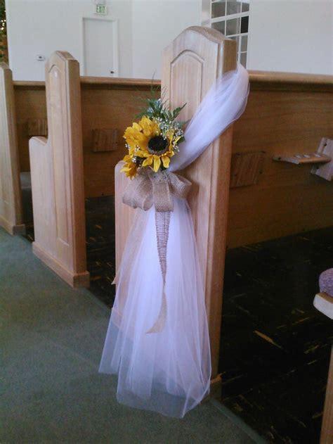 easy tulle sunflower burlap pew bow wonderful wedding