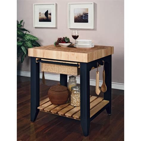 Powell Color Story Antique Black Butcher Block Kitchen