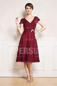 Robe Mi Longue Mariage : robe mi longue encolure v avec manches courtes ~ Melissatoandfro.com Idées de Décoration