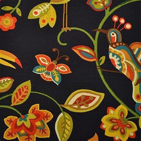 navy blue mint green floral upholstery fabric