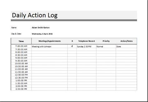 daily log template sales log food nutrition and log templates word excel templates