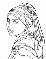 Vermeer Coloring Perla Ragazza Arte Earring Pearl Dibujar Colorare Orecchino Disegni Disegno Turbante Col Frida Earrings Kleurplaat Meisje Parel Famosi sketch template