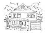 Coloring Huis Kleurplaat Coloriage Maison Pages Exterior Rooms Buitenkant Garage Binnenkant Kleurplaten Edupics Interieur Exterieur sketch template