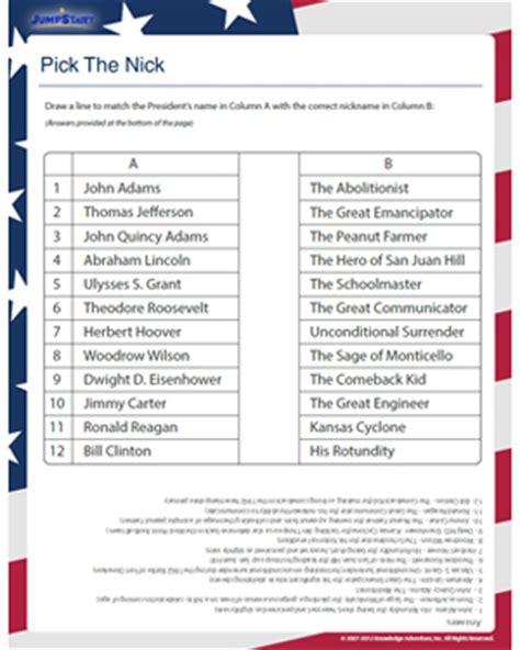 president social studies worksheets 5th grade worksheets