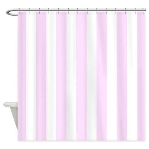 pink and white vertical stripes shower curtain by