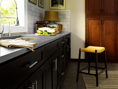 grey kitchen cabinets with black countertops black kitchen cabinets dayton door style cliqstudios 8359