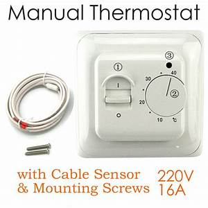 220v Manual Underfloor Heating Electric Thermostat Switch