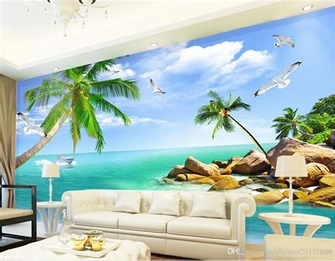 home bedroom decoration beach view  tv backdrop mural