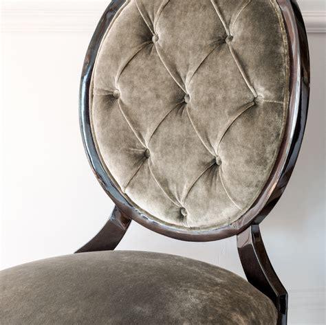 luxury grey velvet upholstered dining chair