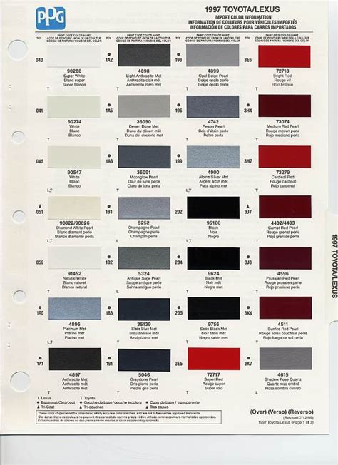 auto paint codes 1997 toyota paint codes auto paint