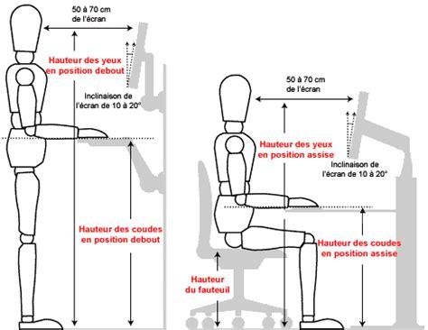 bureau position debout hauteur ergonomie
