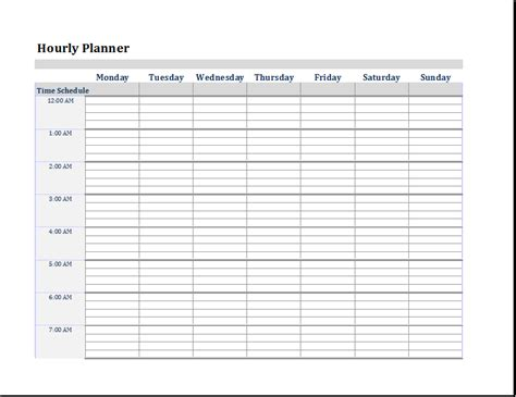 hourly planner template ms word excel editable printable planner templates document templates