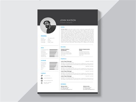 Curriculum Vitae Design Template by Free Black And White Curriculum Vitae Template With Modern