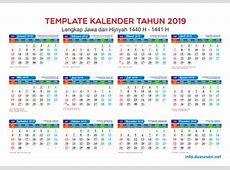 Download Kalender 2019 PDF, JPG, CDR Hijriah, Masehi dan