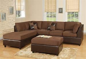chocolate fabric modern two tone sectional sofa w bycast base With sectional sofa 2 tone