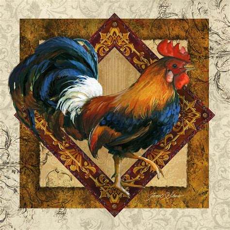 Kitchen Metal Backsplash Ideas - ruler of the roost painting by janet stever