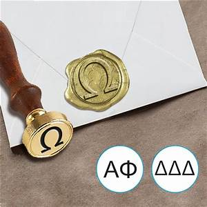 greek font wax seal stamp with wood handle With greek letter stamps
