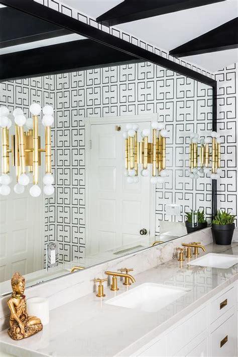 white  black bathroom  greek key wallpaper
