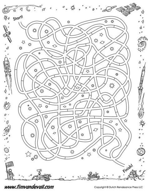 space maze printable bw tims printables printable